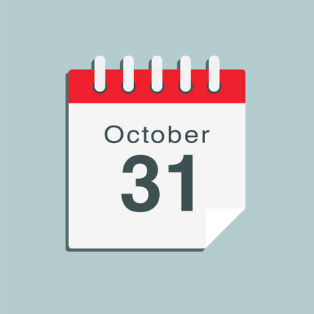 Icon page calendar day - 31 October. Date day week Sunday, Monday, Tuesday, Wednesday, Thursday, Friday, Saturday. 31th days of the month, vector illustration flat style. Autumn holidays in October