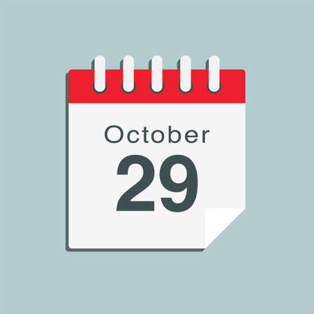 Icon page calendar day - 29 October. Date day week Sunday, Monday, Tuesday, Wednesday, Thursday, Friday, Saturday. 29th days of the month, vector illustration flat style. Autumn holidays in October