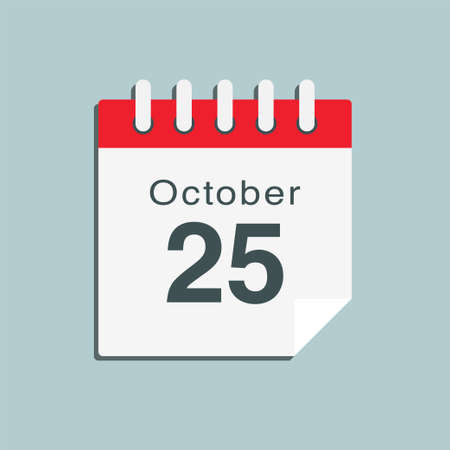Icon page calendar day - 25 October. Date day week Sunday, Monday, Tuesday, Wednesday, Thursday, Friday, Saturday. 25th days of the month, vector illustration flat style. Autumn holidays in October 矢量图像