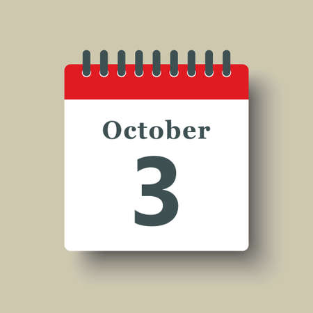 Icon page calendar day - 3 October. Date day week Sunday, Monday, Tuesday, Wednesday, Thursday, Friday, Saturday. 1th days of the month, vector illustration flat style. Autumn holidays in October 矢量图像