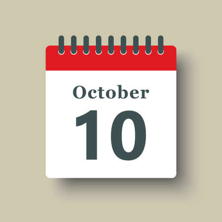 Icon page calendar day - 10 October. Date day week Sunday, Monday, Tuesday, Wednesday, Thursday, Friday, Saturday. 10th days of the month, vector illustration flat style. Autumn holidays in October 矢量图像