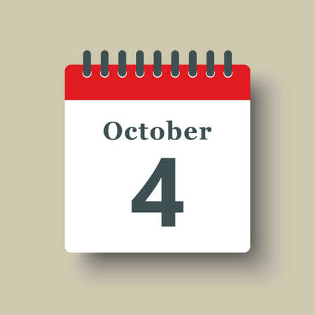Icon page calendar day - 4 October. Date day week Sunday, Monday, Tuesday, Wednesday, Thursday, Friday, Saturday. 4th days of the month, vector illustration flat style. Autumn holidays in October 矢量图像