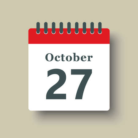 Icon page calendar day - 27 October. Date day week Sunday, Monday, Tuesday, Wednesday, Thursday, Friday, Saturday. 27th days of the month, vector illustration flat style. Autumn holidays in October
