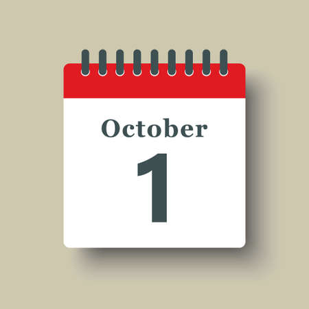 Icon page calendar day - 1 October. Date day week Sunday, Monday, Tuesday, Wednesday, Thursday, Friday, Saturday. 1th days of the month, vector illustration flat style. Autumn holidays in October