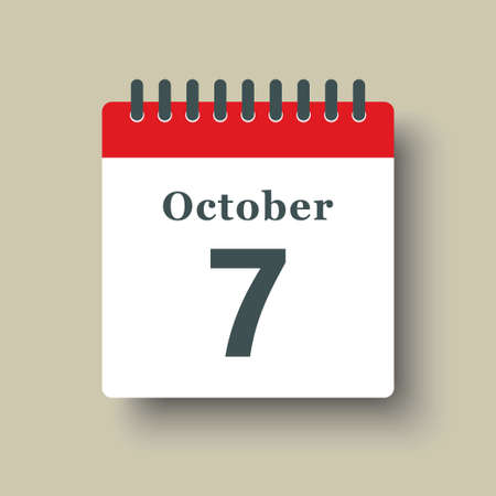 Icon page calendar day - 7 October. Date day week Sunday, Monday, Tuesday, Wednesday, Thursday, Friday, Saturday. 7th days of the month, vector illustration flat style. Autumn holidays in October 矢量图像