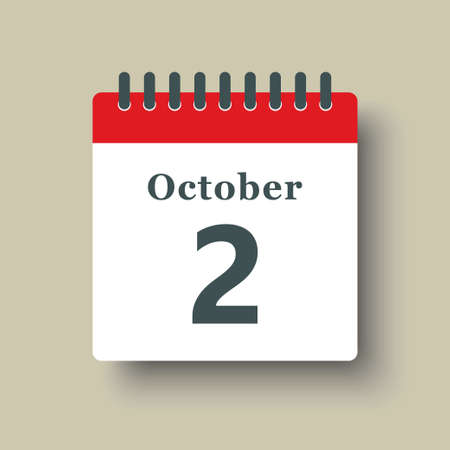 Icon page calendar day - 2 October. Date day week Sunday, Monday, Tuesday, Wednesday, Thursday, Friday, Saturday. 2th days of the month, vector illustration flat style. Autumn holidays in October 矢量图像