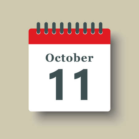 Icon page calendar day - 11 October. Date day week Sunday, Monday, Tuesday, Wednesday, Thursday, Friday, Saturday. 11th days of the month, vector illustration flat style. Autumn holidays in October 矢量图像