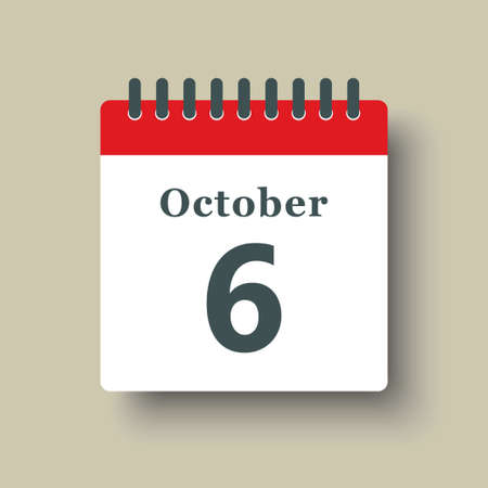 Icon page calendar day - 6 October. Date day week Sunday, Monday, Tuesday, Wednesday, Thursday, Friday, Saturday. 6th days of the month, vector illustration flat style. Autumn holidays in October