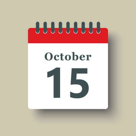 Icon page calendar day - 15 October. Date day week Sunday, Monday, Tuesday, Wednesday, Thursday, Friday, Saturday. 15th days of the month, vector illustration flat style. Autumn holidays in October 矢量图像