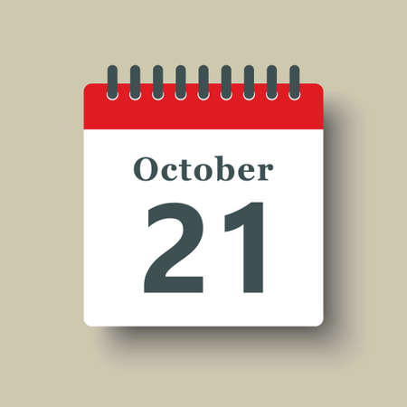 Icon page calendar day - 21 October. Date day week Sunday, Monday, Tuesday, Wednesday, Thursday, Friday, Saturday. 21th days of the month, vector illustration flat style. Autumn holidays in October 矢量图像