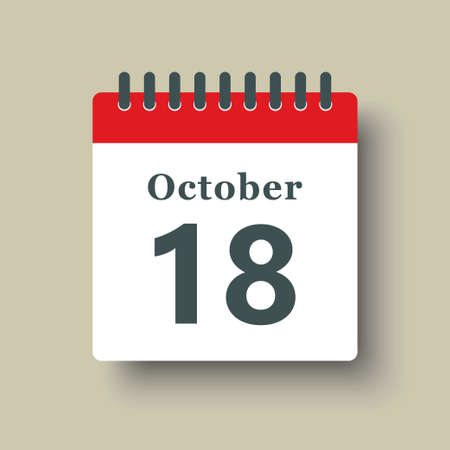 Icon page calendar day - 18 October. Date day week Sunday, Monday, Tuesday, Wednesday, Thursday, Friday, Saturday. 18th days of the month, vector illustration flat style. Autumn holidays in October 矢量图像