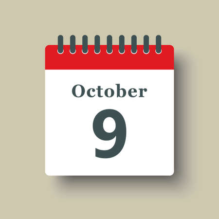 Icon page calendar day - 9 October. Date day week Sunday, Monday, Tuesday, Wednesday, Thursday, Friday, Saturday. 9th days of the month, vector illustration flat style. Autumn holidays in October