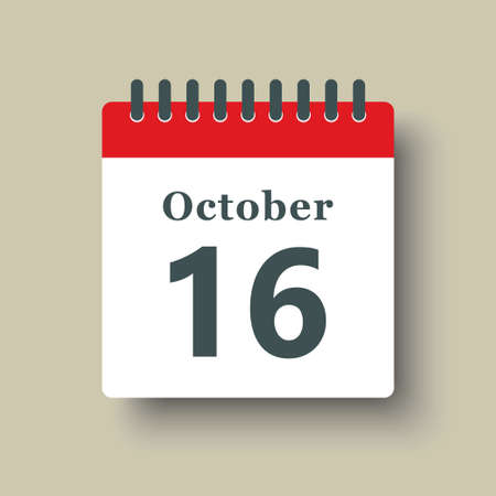 Icon page calendar day - 16 October. Date day week Sunday, Monday, Tuesday, Wednesday, Thursday, Friday, Saturday. 16th days of the month, vector illustration flat style. Autumn holidays in October