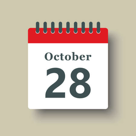 Icon page calendar day - 28 October. Date day week Sunday, Monday, Tuesday, Wednesday, Thursday, Friday, Saturday. 28th days of the month, vector illustration flat style. Autumn holidays in October 矢量图像