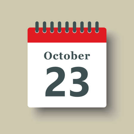 Icon page calendar day - 23 October. Date day week Sunday, Monday, Tuesday, Wednesday, Thursday, Friday, Saturday. 23th days of the month, vector illustration flat style. Autumn holidays in October 矢量图像