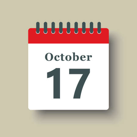 Icon page calendar day - 17 October. Date day week Sunday, Monday, Tuesday, Wednesday, Thursday, Friday, Saturday. 17th days of the month, vector illustration flat style. Autumn holidays in October 矢量图像