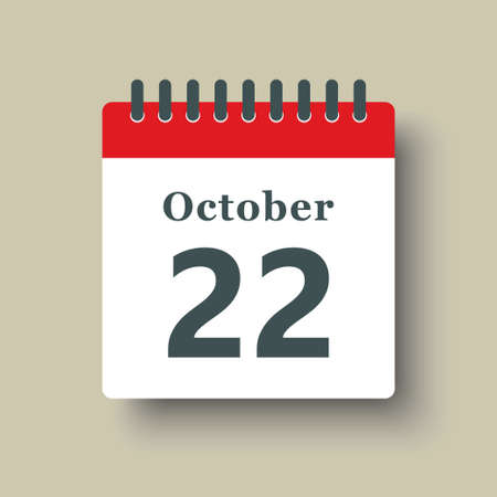 Icon page calendar day - 22 October. Date day week Sunday, Monday, Tuesday, Wednesday, Thursday, Friday, Saturday. 22th days of the month, vector illustration flat style. Autumn holidays in October