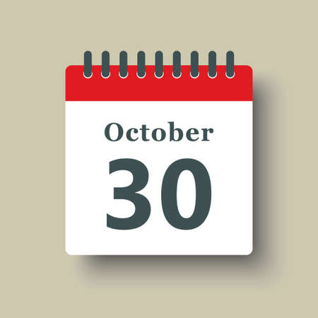 Icon page calendar day - 30 October. Date day week Sunday, Monday, Tuesday, Wednesday, Thursday, Friday, Saturday. 30th days of the month, vector illustration flat style. Autumn holidays in October 矢量图像
