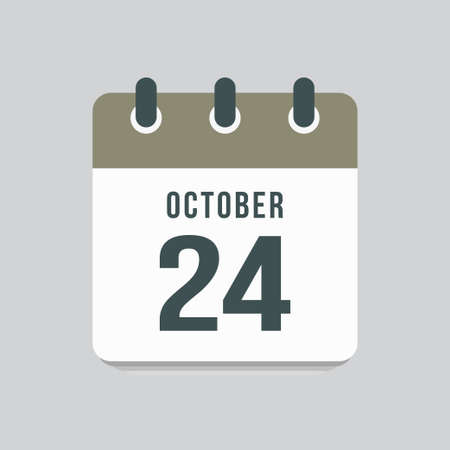 Icon page calendar day - 24 October. Date day week Sunday, Monday, Tuesday, Wednesday, Thursday, Friday, Saturday. 24th days of the month, vector illustration flat style. Autumn holidays in October