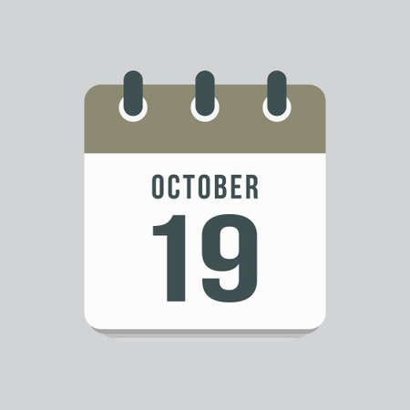 Icon page calendar day - 19 October. Date day week Sunday, Monday, Tuesday, Wednesday, Thursday, Friday, Saturday. 19th days of the month, vector illustration flat style. Autumn holidays in October