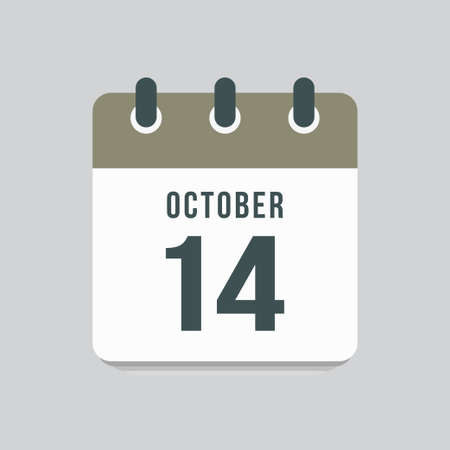 Icon page calendar day - 14 October. Date day week Sunday, Monday, Tuesday, Wednesday, Thursday, Friday, Saturday. 14th days of the month, vector illustration flat style. Autumn holidays in October