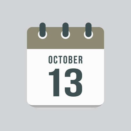 Icon page calendar day - 13 October. Date day week Sunday, Monday, Tuesday, Wednesday, Thursday, Friday, Saturday. 13th days of the month, vector illustration flat style. Autumn holidays in October