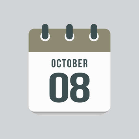 Icon page calendar day - 8 October. Date day week Sunday, Monday, Tuesday, Wednesday, Thursday, Friday, Saturday. 8th days of the month, vector illustration flat style. Autumn holidays in October 矢量图像