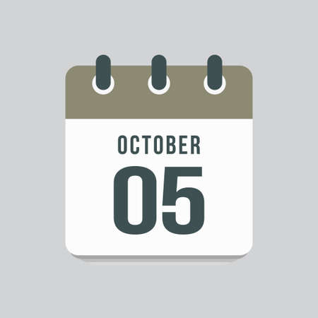 Icon page calendar day - 5 October. Date day week Sunday, Monday, Tuesday, Wednesday, Thursday, Friday, Saturday. 5th days of the month, vector illustration flat style. Autumn holidays in October