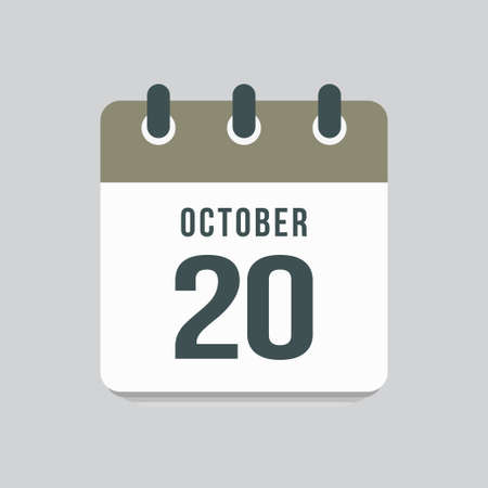 Icon page calendar day - 20 October. Date day week Sunday, Monday, Tuesday, Wednesday, Thursday, Friday, Saturday. 20th days of the month, vector illustration flat style. Autumn holidays in October 矢量图像