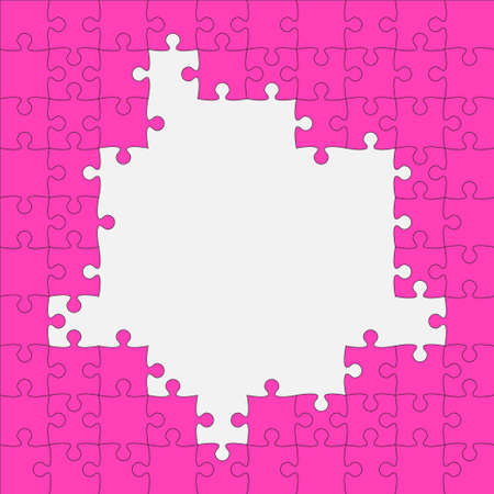 Background frame made with pink pieces puzzle. Vector square banner jigsaw template with particles, details, tiles, parts. Pattern for education and presentation with element piece puzzle Vektorové ilustrace