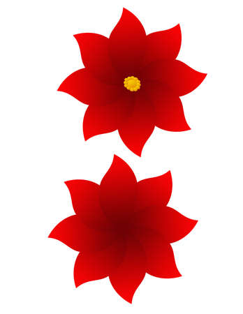 Red and yellow flowers created symetrically
