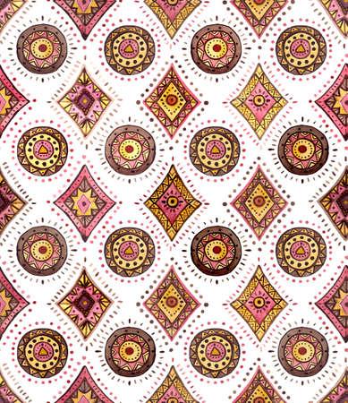 repeat: Watercolor Yellow Oriental Repeat Pattern Stock Photo