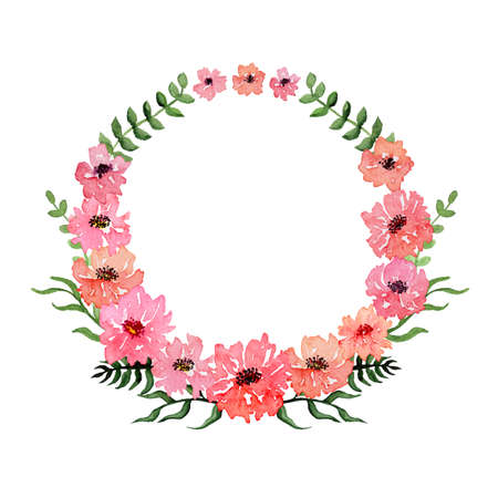 deep pink: Wreath with Watercolor Pink Flowers and Deep Green Leaves Stock Photo