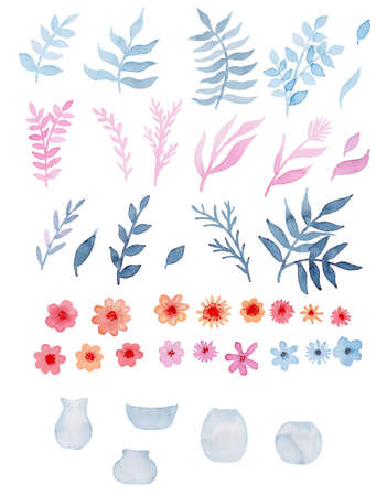 Romantic Set Of Watercolor Red Flowers, Blue And Pink Leaves, And Glass Vases