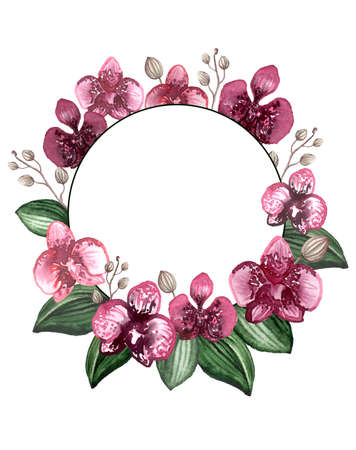 Round Wreath with Watercolor Burgundy Orchids, Buds and Deep Green Leaves