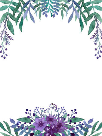 violet flowers: Frame with Watercolor Deep Violet Flowers, Berries and Green Leaves