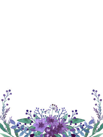 violet flowers: Frame with Watercolor Little Violet Flowers, Berries and Herbs Stock Photo