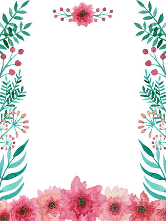 Card With Watercolor Gentle Pink Flowers And Bright Green Leaves Stock Photo
