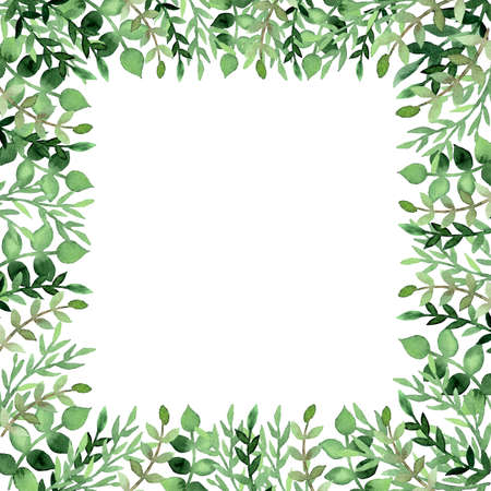 branches with leaves: Frame with Watercolor Bright Green Leaves and Tree Branches