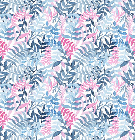 fern  large fern: Watercolor Seamless Texture WithDeep Blue Ferns and Light Pink Leaves