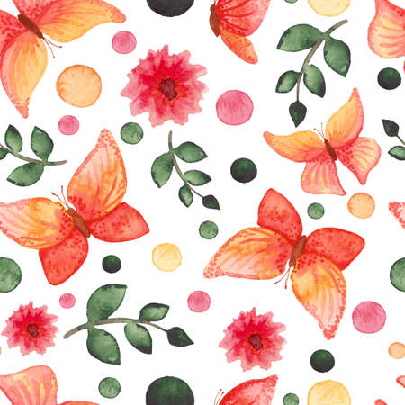 mariposas amarillas: Acuarela roja y amarillas mariposas, flores y Deep puntos verdes de la repetición