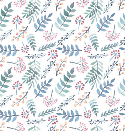 Watercolor Red and Yellow Berries, Light Blue And Green Leaves Seamless Pattern