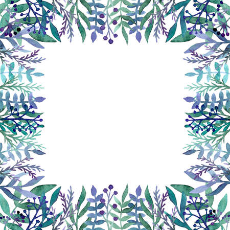 Card With Watercolor Green And Blue Foliage, Berriea and Little Herbs Stock Photo