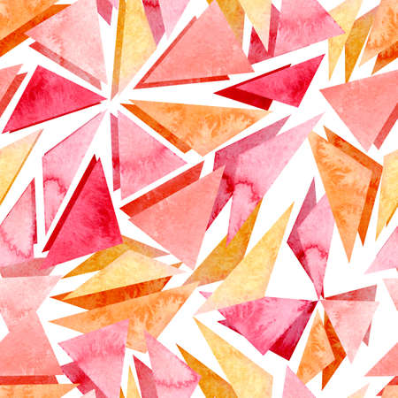 Watercolor Bright Pink and Yellow Fragments Geometric Seamless Pattern Stock Photo