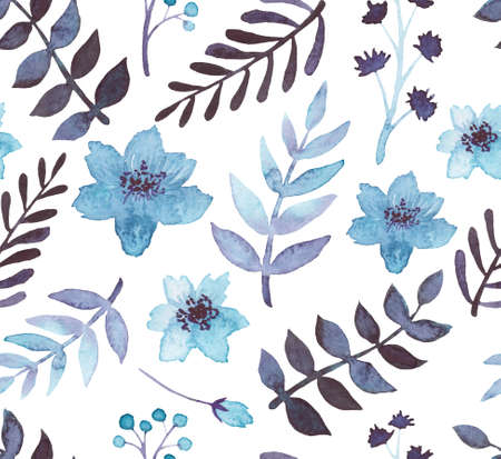 winter flower: Watercolor Blue Flowers And Dark Leaves Seamless Pattern Stock Photo