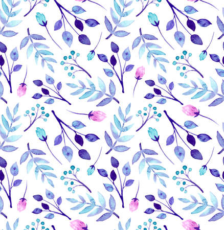 Watercolor , Deep Purple Leaves, Blue And Pink Flowers Repeat Pattern