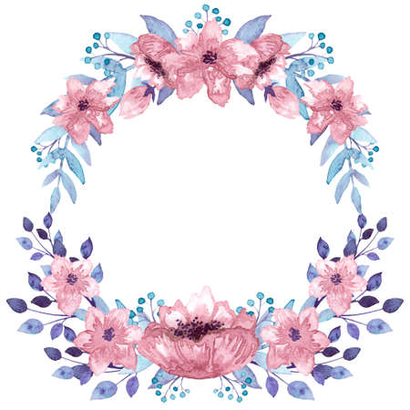 Wreath With Watercolor Pink Flowers, Light Blue Berries and Leaves