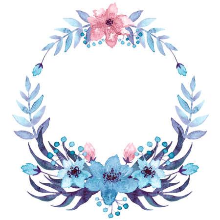 Kranz mit Aquarell Dunkle Farne, hellblau und rosa Blumen