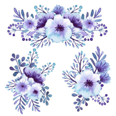 violet flowers: Set Of Romantic Watercolor Light Violet Flowers Bouquets Stock Photo