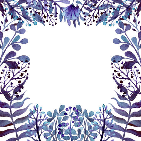 ferns: Square Frame With Watercolor Deep Blue Leaves, Ferns And Flowers